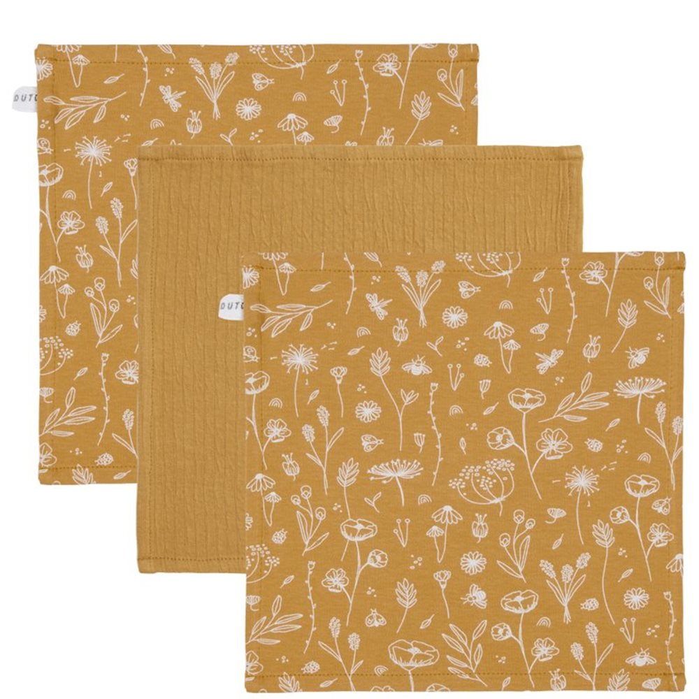Picture of Facecloths Wild Flowers Ochre / Pure Ochre
