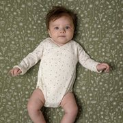Picture of Fitted cot sheet Wild Flowers Olive