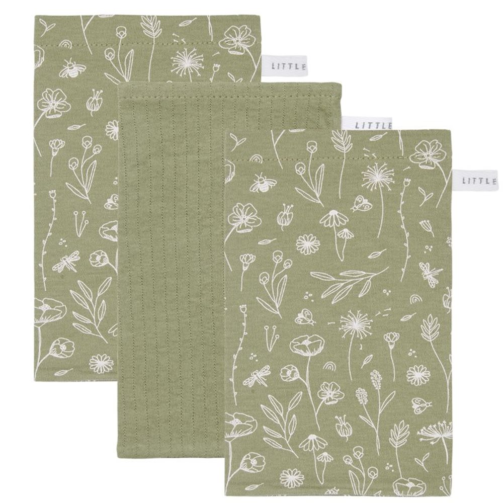 Gants de toilette Lot Wild Flowers Olive