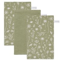Waschhandschuhe Set Wild Flowers Olive