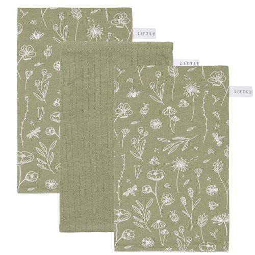 Afbeelding van Washandjes set Wild Flowers Olive