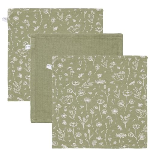 Picture of Facecloths Wild Flowers Olive / Pure Olive