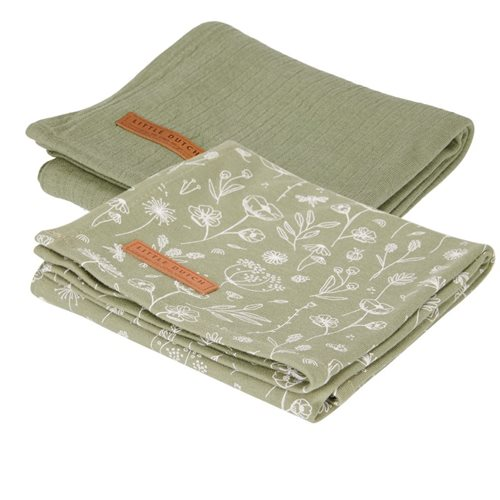 Langes Swaddles 70 x 70 Wild Flowers Olive / Pure Olive