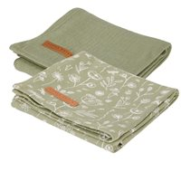 Musselintuch Swaddles 70 x 70 Wild Flowers Olive / Pure Olive