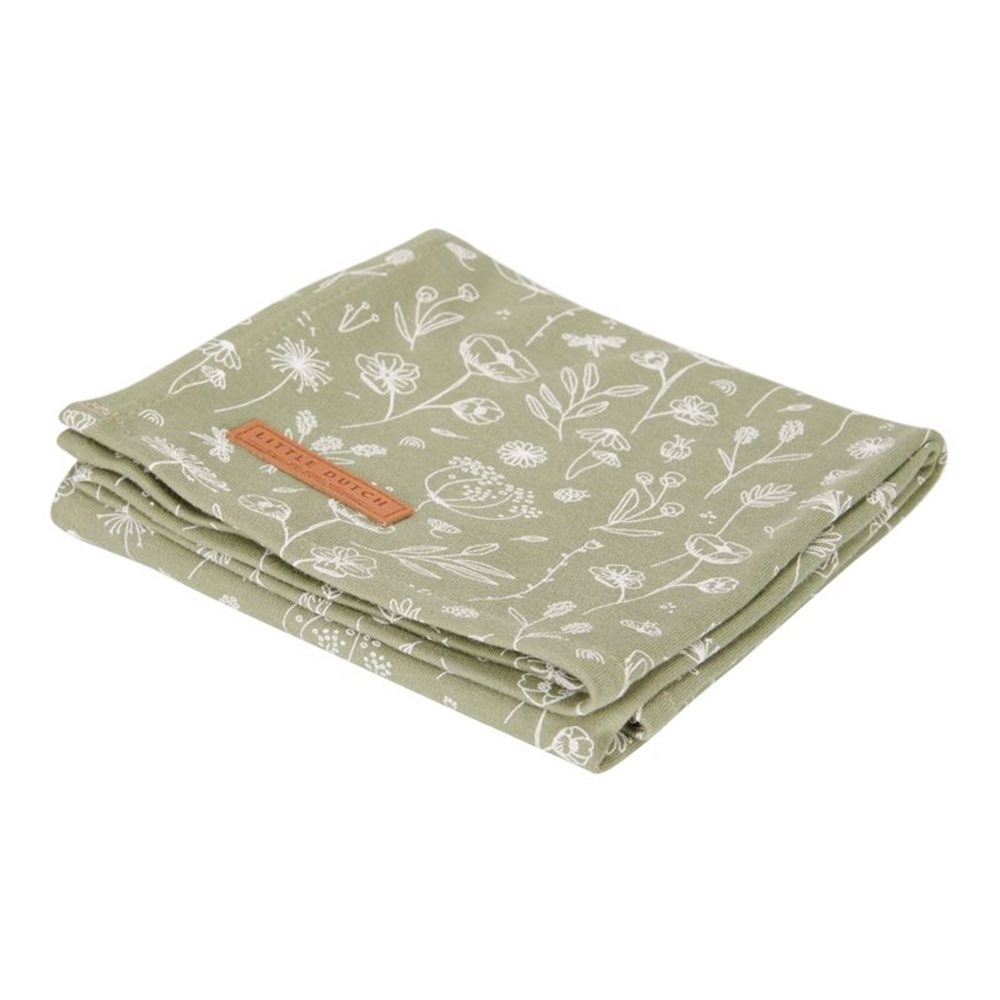 Musselintuch Swaddle 120 x 120 Wild Flowers Olive / Pure Olive