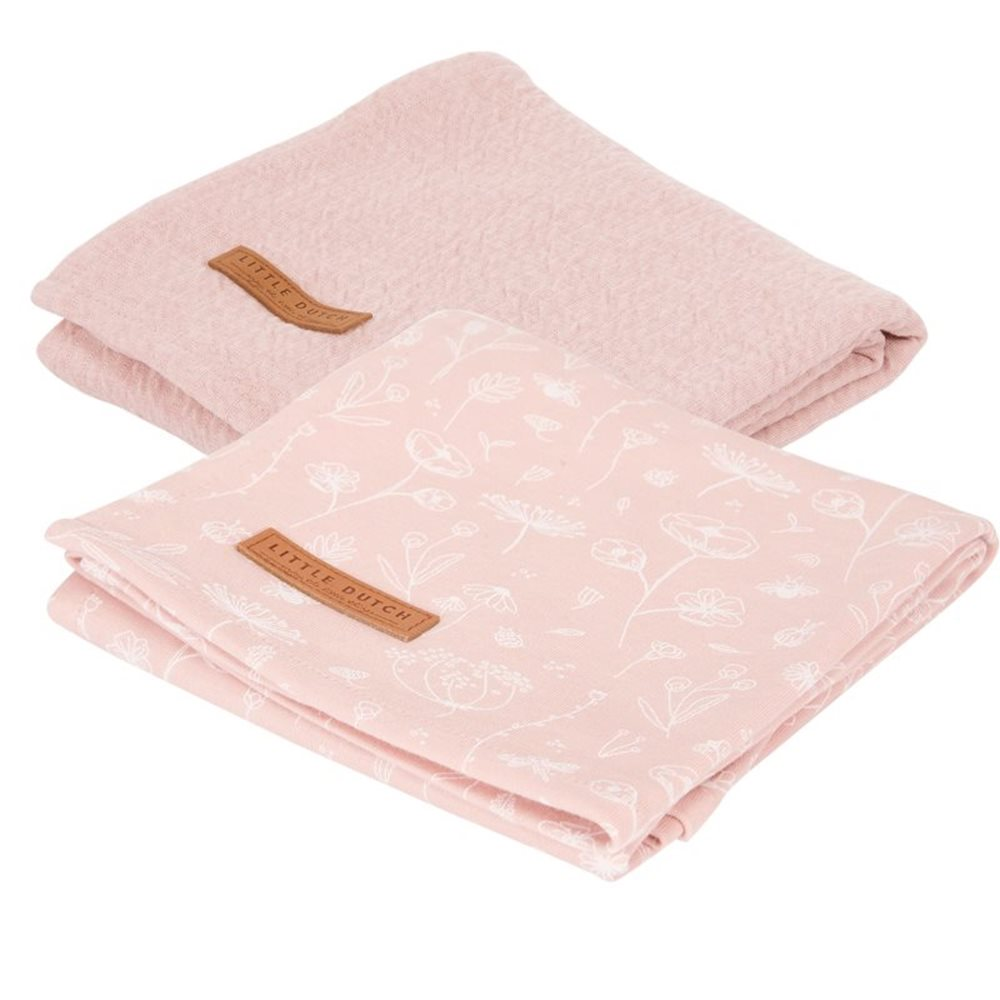 Musselintuch Swaddles 70 x 70 Wild Flowers Pink / Pure Pink