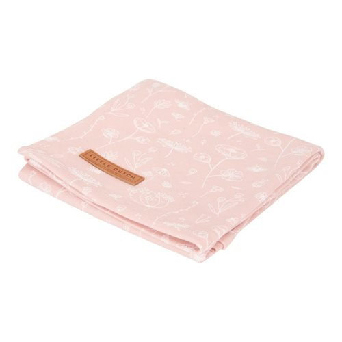 Musselintuch Swaddle 120 x 120 Wild Flowers Pink / Pure Pink