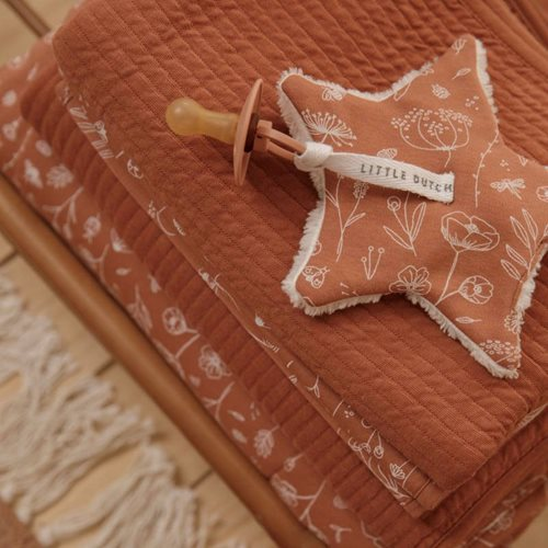 Doudou attache-sucette Wild Flowers Rust