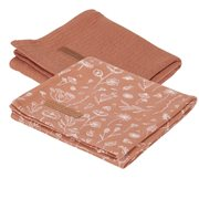 Musselintuch Swaddles 70 x 70 Wild Flowers Rust / Pure Rust