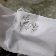 Drap de berceau Wild Flowers Olive brodé