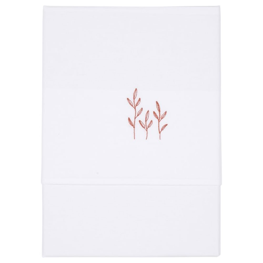 Picture of Cot sheet Wild Flowers Rust embroidered