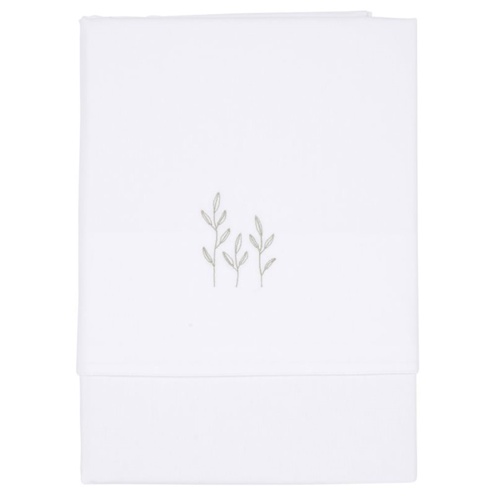 Picture of Cot sheet Wild Flowers Olive embroidered