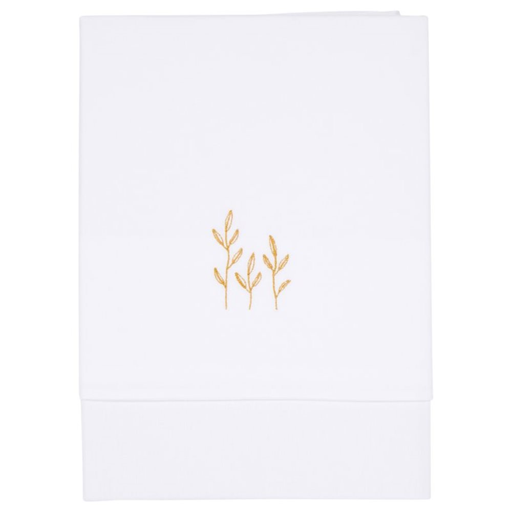 Picture of Cot sheet Wild Flowers Ochre embroidered