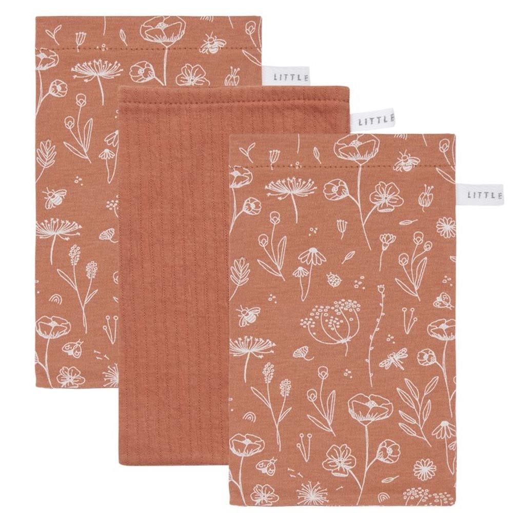 Afbeelding van Washandjes set Wild Flowers Rust