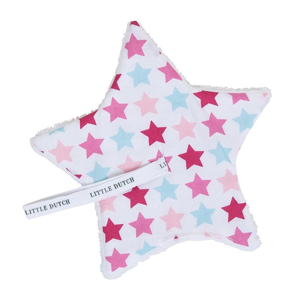 Doudou attache-sucette Mixed Stars Pink