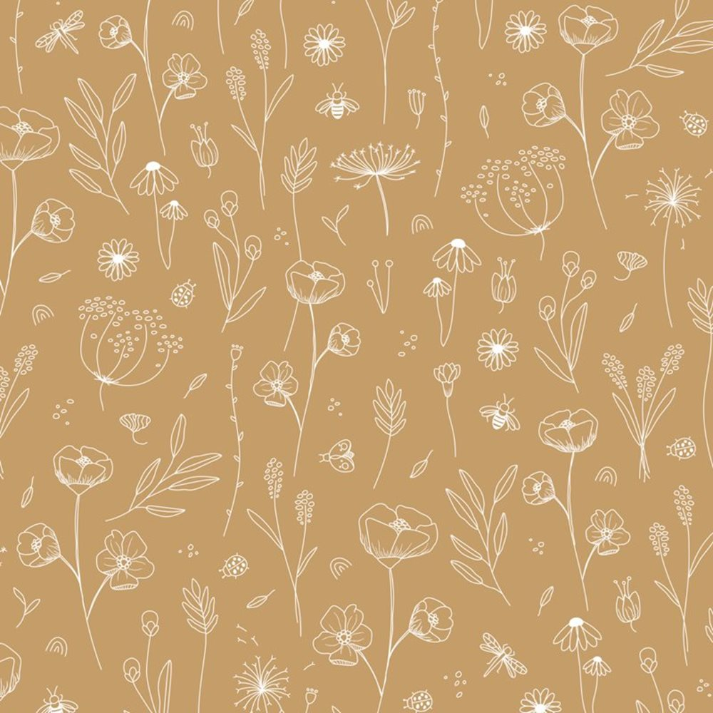 Afbeelding van Behangstaal vliesbehang Wild Flowers Ochre