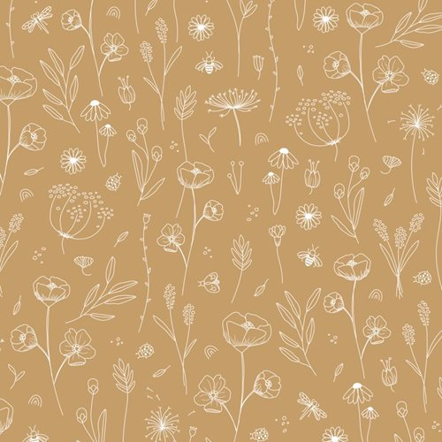 Picture of Wallpaper sample Wild Flowers Ochre