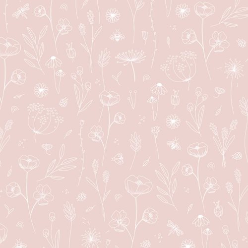 Échantillon de papier peint Wild Flowers Pink