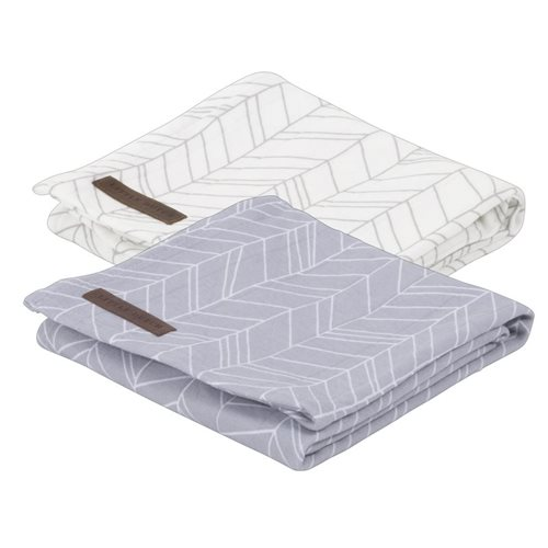 Langes Swaddles 70 x 70 70 x 70 Grey Leaves
