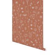 Papier peint intissé Wild Flowers Rust
