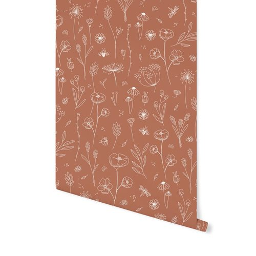 Afbeelding van Vliesbehang Wild Flowers Rust
