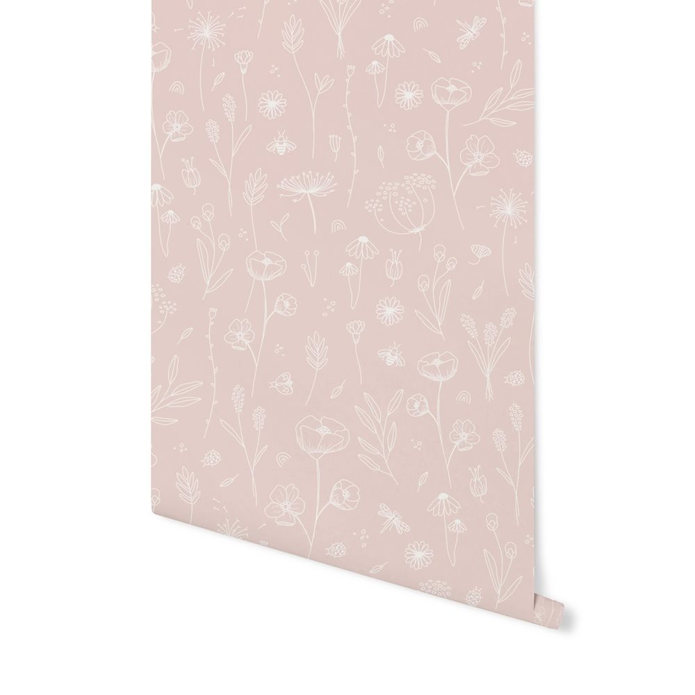 Picture of Non-Woven Wallpaper Wild Flowers Pink
