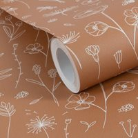Picture of Non-Woven Wallpaper Wild Flowers Rust