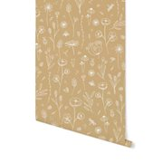 Picture of Non-Woven Wallpaper Wild Flowers Ochre