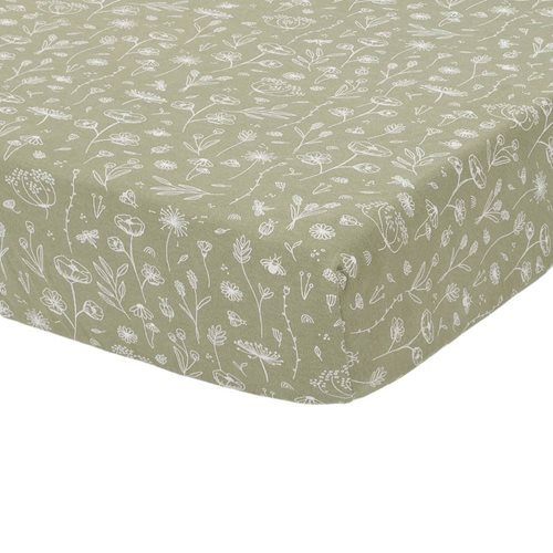 Picture of Fitted sheet 70x140/150 Wild Flowers Olive