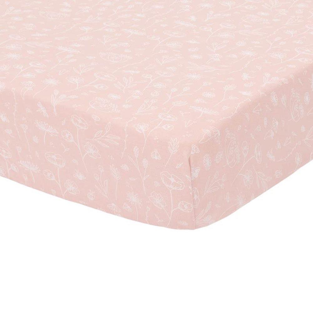 Drap-housse berceau Wild Flowers Pink